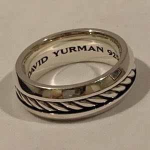 NEW David Yurman mens silver cable band ring Sz 10